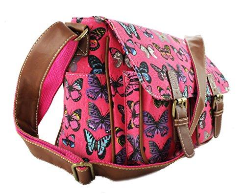Miss Lulu Lona Búho, Mariposa, Elefante, caballo, y Hule Magdalena Diseño diseño Silla Mochila Bolso Messenger De Hombro Butterfly Plum (Canvas)