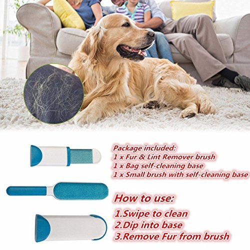 Pet Fur & Lint Remover Brush with Self-Cleaning Base, Extra-Large Double-Sided Lint Brush for Furniture,Clothes,Couch, Car Seat-Effective Dogs/Cats Hair Removal Tool (2pcs/set) by PETOU (Image #6)