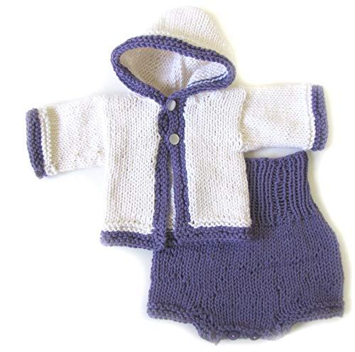 Price comparison product image Kids Scandinavian Shop KSS Handmade Gender Neutral White / Purple Cotton Baby Sweater & Pants Set 3 Months