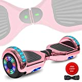 DOC Electric Hoverboard Self-Balancing Hoover Board with Built in Speaker LED Lights Wheels UL2272 Certified (Chrome Rose Gold)