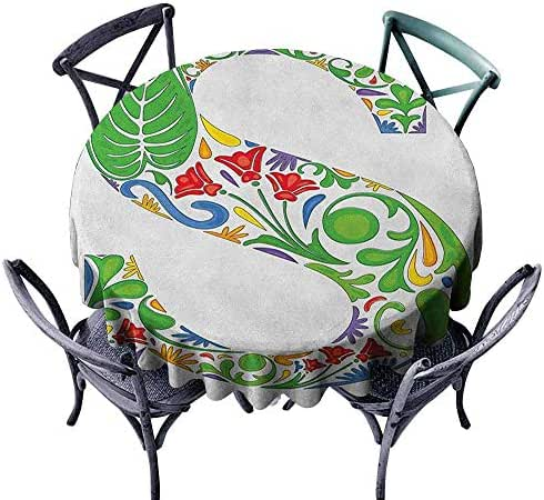 XXANS Round Tablecloth,Letter S,Party Decorations Table Cover Cloth,50 INCH Multicolor