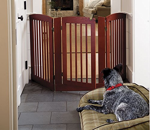 Orvis Three-panel Dog Gate With Door   36  h Gate, Dark Cherry,