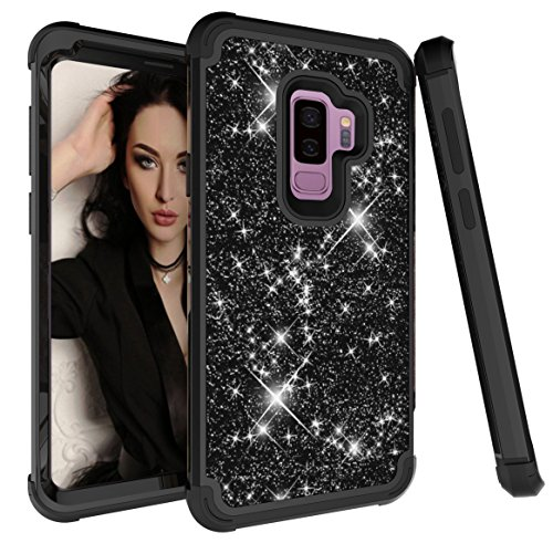 Galaxy S9 Plus Case, Ankoe 3D Luxury Glitter Sparkle Bling Shiny Heavy Duty Hybrid Sturdy Armor Defender High Impact Shockproof Full Protective Cover Case for Samsung Galaxy S9 Plus (Black) (Plate 9' Accent Green)