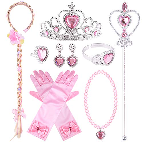 TUPARKA 10Pcs Princess Dress up Accessories , PrincessTiara Braid Wand Gloves Necklace Earrings Ring Bracelet for Girls Birthday Party Princess Cosplay Decorations(Pink)