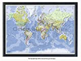 Laminated Posters Framed - World Physical Map - Push Pin Memo Notice Board - Black Driftwood Effect - Matt Finish - Measures 96.5 x 66 cms (38 x 26 Inches - Approx)