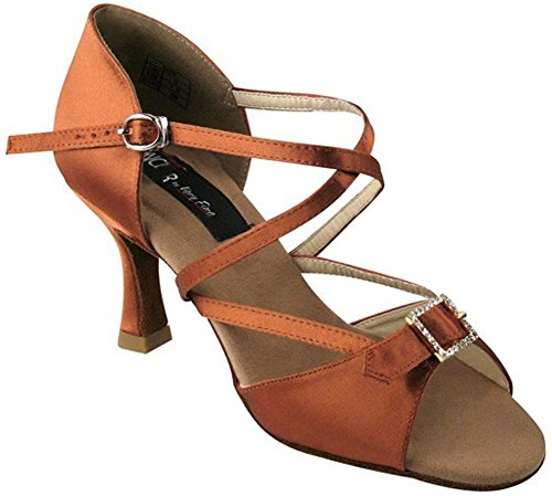 Very Fine Shoes Competitive Dancer Series CD2013 2.5 or 3 Heel Tan Satin 76X5Ngm