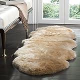 Safavieh Sheepskin Collection SHS121M Genuine Sheepskin Pelt Beige Premium Shag Runner (2' x 6')