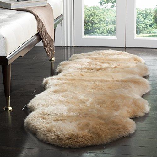 Safavieh Sheepskin Collection SHS121M Genuine Sheepskin Pelt Beige Premium Shag Runner (2' x 6') by Safavieh