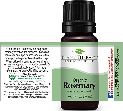 Plant Therapy USDA Certified Organic Rosemary Essential Oil. 10 ml (1/3 oz) 100% Pure, Undiluted, Therapeutic Grade.