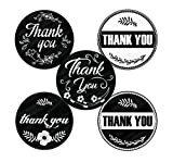 Retro Vintage Thank You Stickers Roll Set 1.5 inch | Assorted Round Design | 500 Adhesive per Roll | 5 Unique Designs | Baby shower, Wedding, Graduation, Birthdays | Black and White Color