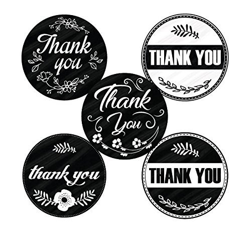(Retro Vintage Thank You Stickers Roll Set 1.5 inch | Assorted Round Design | 500 Adhesive per Roll | 5 Unique Designs | Baby Shower, Wedding, Graduation, Birthdays | Black and White Color)