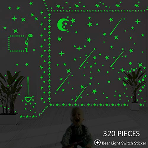 - Glow in The Dark Stars, Glowing Stars Moon Dots Stickers for Ceiling Wall Decor Kids Bedroom Party Gift Green (320 Pieces with Light Switch Sticker)