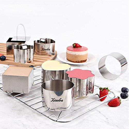 UPC 720657212280, Xiaoba Stainless Steel 12 Piece 3'' Mousse Cake Ring Mold with Press Set