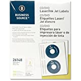 Business Source CD/DVD Labels for Laser and Inkjet Printers - Pack of 100