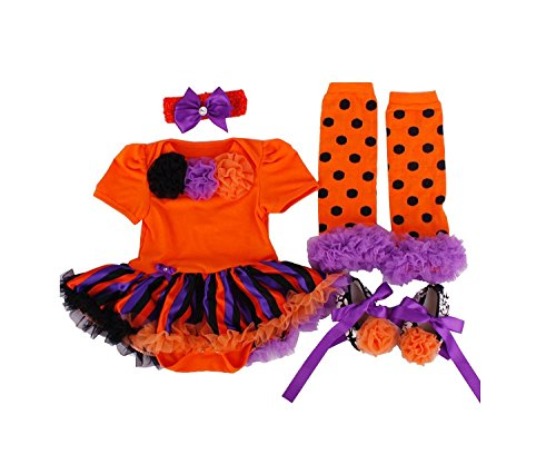 [BeautyXTP Baby Girls' Halloween Romper Dress Pumpkin 4PCs Headband Legging Shoe (S:(0-3 Months), Orange +Stripe] (Fawn Costume Headband)