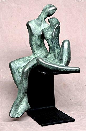 Modern bronze sculpture,lovers on a pedestal