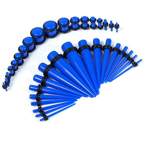 Blue Taper - BodyJ4You 36PC Gauges Kit Royal Blue Acrylic Taper Plug 14G-00G Ear Stretching Set O-Rings Body Piercing