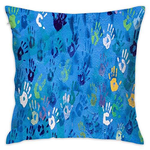 Jretger Rich Color Handprint Art Wallpaper Customized Decorative Cotton Single Pillowcase Square Without Pillow Core Suitable for 18''x18''