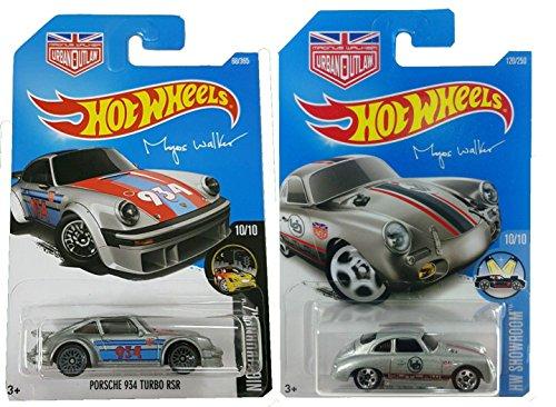 Hot Wheels 2016 Urban Outlaw Magnus Walker 2-Car Porsche Bundle - Magnus Walker's Porsche 356A Outlaw (Silver) #120/250 & 2017 Porsche 934 Turbo RSR #68/365 2-Car Bundle Set