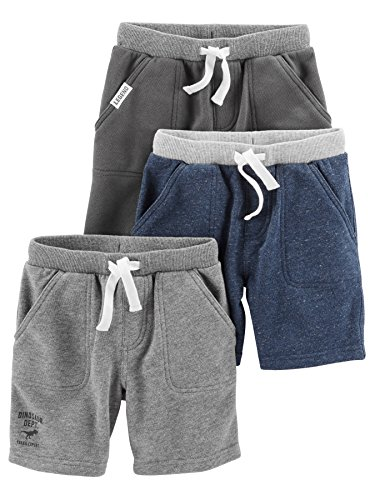 Simple Joys by Carter's Baby Boys' Toddler 3-Pack Knit Shorts, Navy Heather, Charcoal Heather, Gray, (Carters Toddler Knit)
