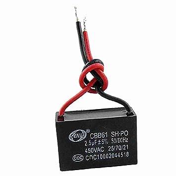 2.5MFD 2.5uf 450VAC 50 / 60Hz 2 Draht Fan Kondensator: Amazon.de ...