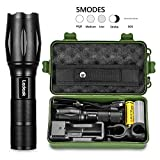 T6 Upgrade L2 LED Flashlight,Ledeak CREE 1200 Lumens LED Torch,5 Modes Zoomable Waterproof Tactical Flashlight with USB Charger,18650 Rechargeable Battery,Cycling Handlebar Mount, Flashlight Holste