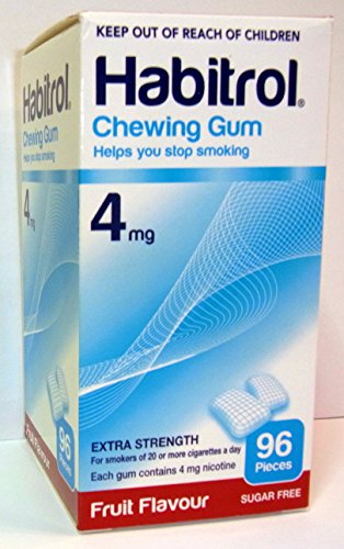 4 boxes Habitrol Nicotine Gum, 4mg FRUIT flavor COATED gum. 384 (4 Mg Fruit Flavor)