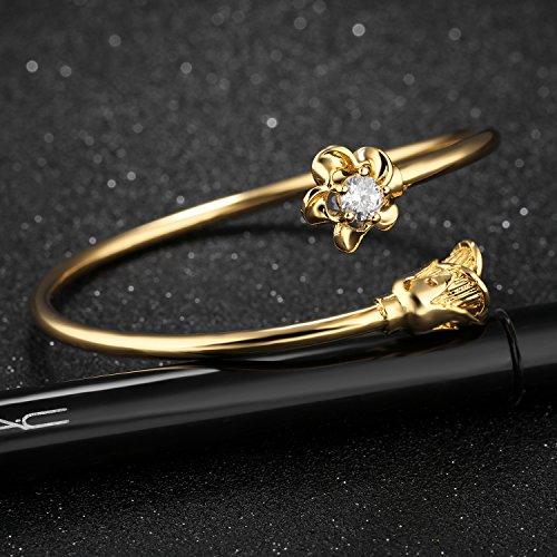 LOHOME Women's Fashion Bracelets 18K Gold Tone Rose charm Open Bangle Cuff for Women by LOHOME (Image #3)