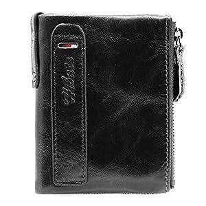Hibate Men Leather Vertical Wallet RFID Blocking Men's Wallets Credit Card Holder Coin Pocket Purse - Black