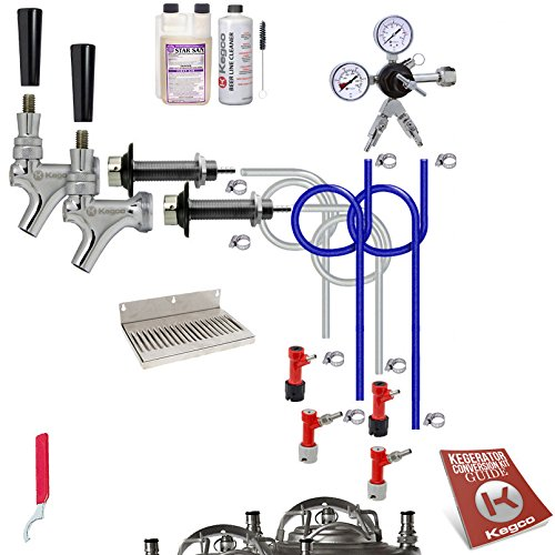 Kegco KC UCK2-PLCP-NT Ultimate Door Mount Kegerator 2 Keg Tap Conversion Kit Pin Lock No Tank, Chrome (Kegerator Kit Dual Tap compare prices)