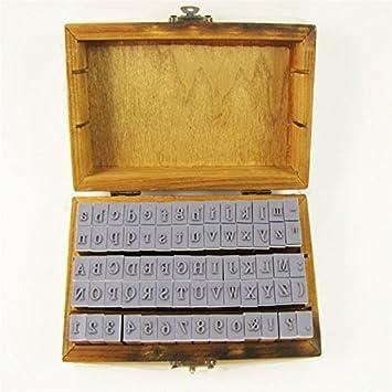 Nueva 70Unidades goma caja de madera Vintage Print form letras del alfabeto número Craft: Amazon.es: Hogar