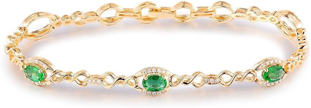 Pulsera de oro amarillo macizo de 14 quilates con diamantes de esmeralda natural para mujer, cadena de 17,8 cm de largo y 2,5 cm de