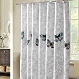 Shower Curtain 220x200cm(WxH) Large Polyester Anti-Mildew Waterproof Butterfly and Flower Pattern Bathroom Shower Curtain Tub Curtain Liner Bedroom Curtain Window Curtain with Buckles/Hooks