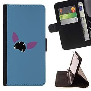 BullDog Case - FOR/Samsung Galaxy S6 EDGE / - / Minimalist Poke Face /- Monedero de cuero de la PU Llevar cubierta de la caja con el ID Credit Card Slots Flip funda de cuer