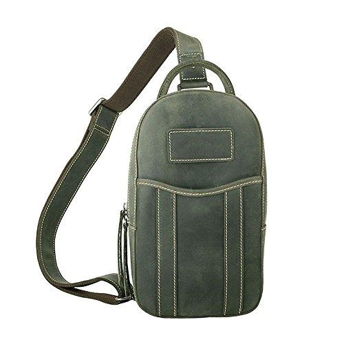 Mujeres Yamyannie Casual Sport la del Travel del Verde del Daypack la Bolso Cintura Hombres Genuino del Bolso Bolso de Cintura Marrón Cuero Hiking de Hombres Bolso Color Pecho y Cruzado rSgrvqF