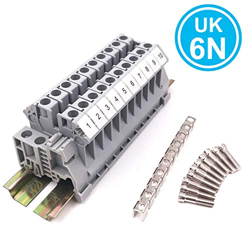 Erayco Assembly UK6N 10 Gang DIN Rail Terminal Blocks Kit with Fixed Bridge, 6 mm², 24-8 AWG, 50 Amp, 600 Volt