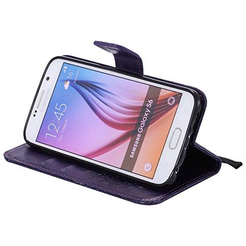 Carcasas y fundas Móviles, Para Samsung Galaxy S6 Funda, Sun Flower Diseño de la impresión de cuero de la PU Flip Casete funda protectora con ranura para tarjeta / soporte para Samsung Galaxy S6 ( Col Purple