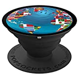World Map Globe Flags - PopSockets Grip and Stand for Phones and Tablets