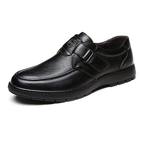 Easy Go Shopping Classique Hommes Cuir Chaussures Véritable Cuir de Vache Supérieur Mocassin Doux Mocassin Semelle Souple Chaussures de Sport en Cuir pour Hommes Black C2PZRmZKZ