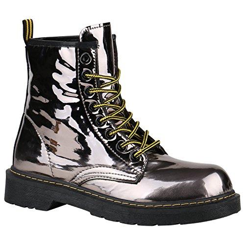 Stiefelparadies Unisex Damen Herren Stiefeletten Worker Boots Profilsohle Flandell Grau Metallic Glänzend