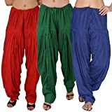 K's Creations Women's Cotton Patiala Salwar Combo (Green_N.Blue_Red_Free Size)