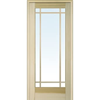 Bon National Door Company ZA09505L Unfinished Poplar Wood 9 Lite True Divided  Clear Glass, Left Hand