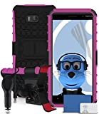 iTALKonline Nokia Lumia 930 Pink Black Tough Hard Shock Proof Rugged Heavy Duty Case Cover with Viewing Stand - 3 Layer LCD Screen Protector, 360 Degrees Rotating Claw Multi-Directional Dashboard / Windscreen, Case Compatible and 1000 mAh In Car Charger LED Indicator and Overload Protection
