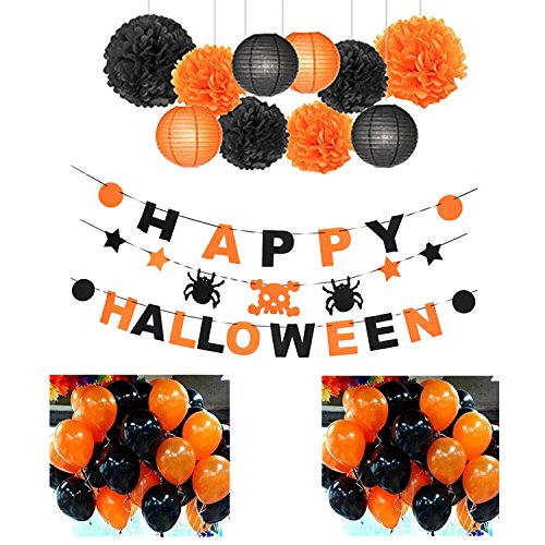 Indoor Halloween Decoration 2018 Party Set - at Office - at Home - 37 Pieces: 24 Ballons 3 Banners 4 Paper Lantern 6 Paper pom poms - by Folgen ()