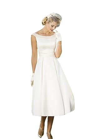 456e7bf1c563f Engerla Women's Pearls Scoop Neck Open Back Zipper Satin Vintage Tea Length  Bride Dress White UK18