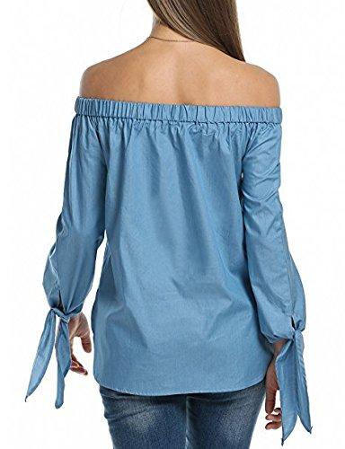 Baggy Fashion Moda Tops Lunghe Autunno Tempo Camicetta zum Knoten Donna Denim Shirt Libero Maniche Carmen Senza Eleganti Bretelle Bluse Grazioso Blu Stlie XqCzYXZw
