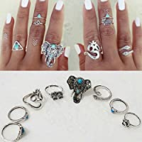 8PCS/set Rings Tribal Turquoise Hippie Gothic Elephant Snake Stacking Rings EW sakcharn