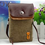 Big Mango Multipurpose Cute Cat Design Two separated Pouches Cell Phone Soft Fuzz and PU Leather Bag Crossbody Purse for Apple Iphone 4 4s Iphone 5 5s 5c Samsung Galaxy S4 S3 Galaxy Note 2 HTC Money Key Cards with Shoulder Strap & Magnetic Snap Buttom Closure ( Coffee )