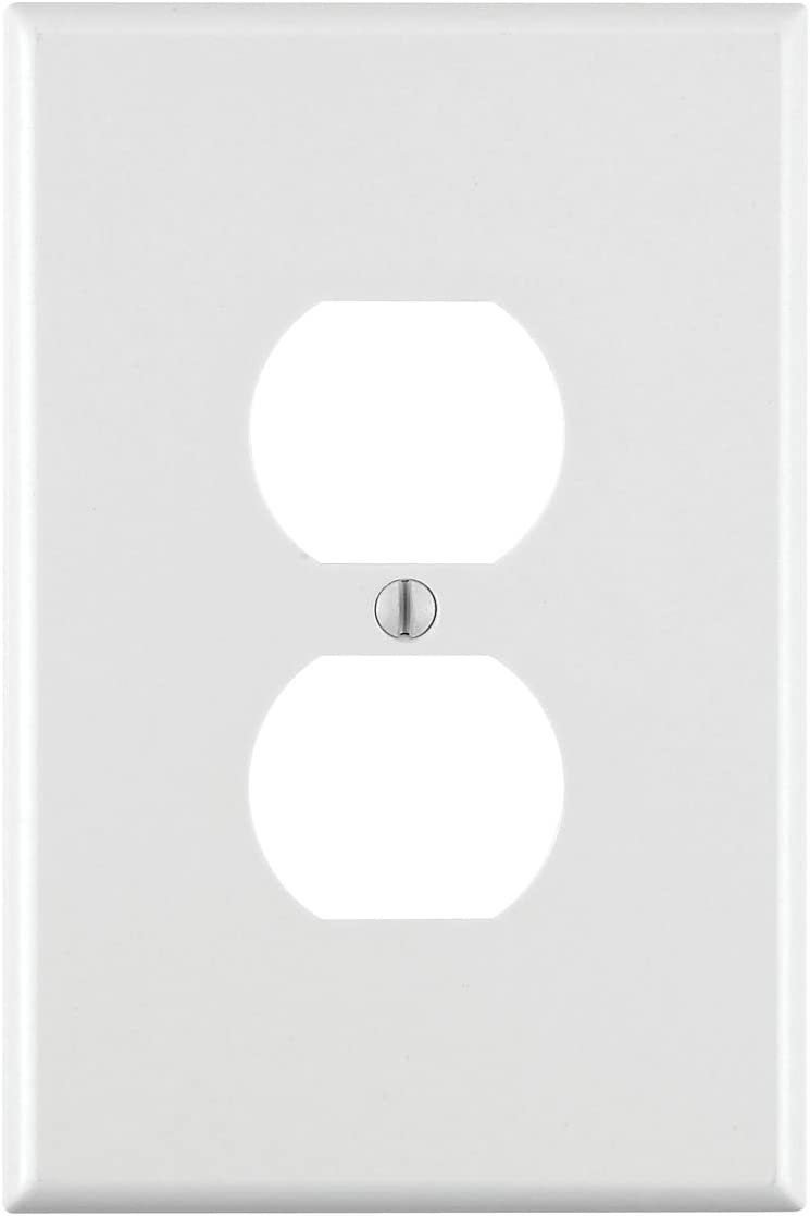 Leviton, White 88103 1-Gang Duplex Receptacle Wallplate, Oversized, Thermoset, Device Mount - Outlet Plates -