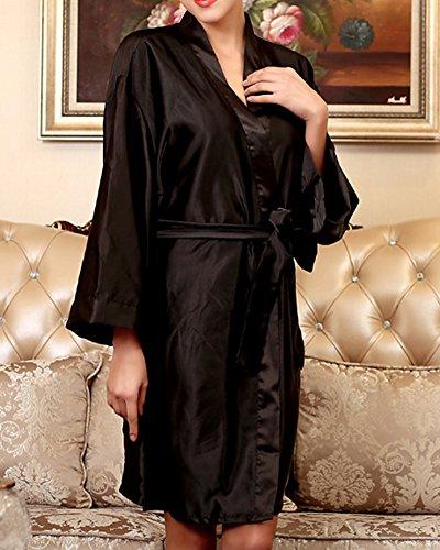 Mujer Ropa Dormir Satén Manga Larga Estilo Kimono Vestido Elegante Albornoces Negro